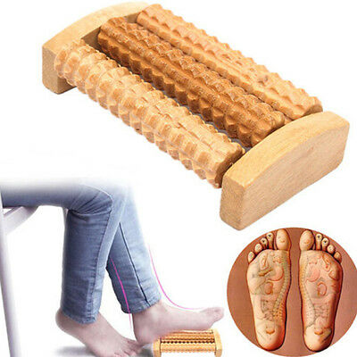 Handheld Wooden Roller Massager Reflexology Hand Foot Back Body Therapy ab