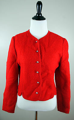 Womens Vintage Red Retro Blazer Small Mod Jacket 60s Style Buttons Indie S Long