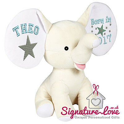 Personalised Embroidered Cream Elephant Soft Toy/New Baby/Christening/Birthday