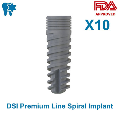 10x DSI Dental Spiral Implant Premium Line Internal Hex Sterile SLA & RBM CE ISO