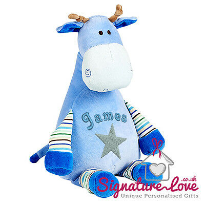 Personalised Embroidered Blue Giraffe Soft Toy/New Baby Boy/Christening/Gift