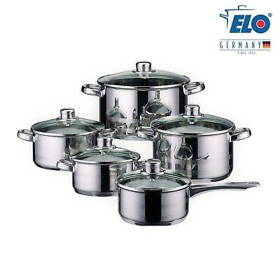ELO Germany 10 Piece Cookware Induction Pots and Pan Set Stainless Steel Kitchen