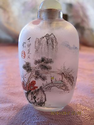 Vintage Chinese Inside Painted Reverse Painting Glass Snuff Bottle
