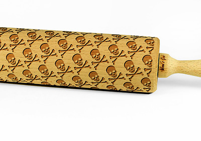 Engraved SKULLS AND BONES rolling pin wooden laser cut any pattern unique design
