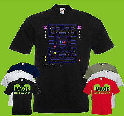 Pac Man Retro Mens PRINTED T-SHIRT Vintage Classic Game Ghosts