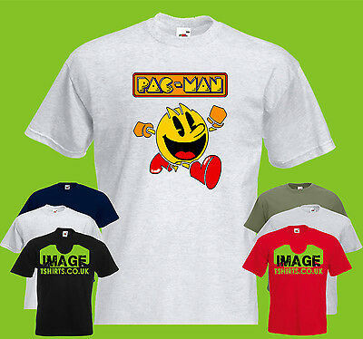 Pac Man Running Mens PRINTED T-SHIRT Vintage Classic Game Ghosts Retro