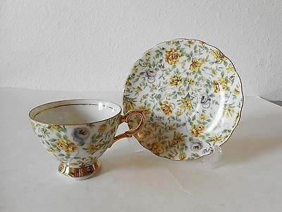 Napco 100321 Cup & Saucer Yellow & Purple Roses