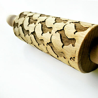 Engraved DACHSHUND DOGS MINI rolling pin wooden laser cut pattern unique