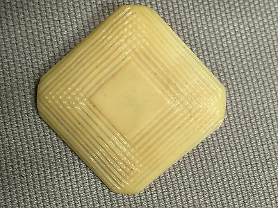 "Vintage Catalin Celluloid Square Engraved Diamond Ivory Large 1.2"" Shank Button"