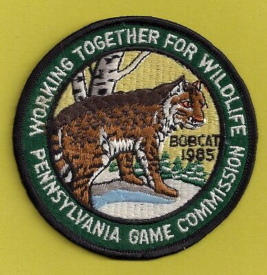 "Pa Pennsylvania Game Fish Commission  1985 NEW 4"" Eastern Bobcat Cat WTFW Patch"