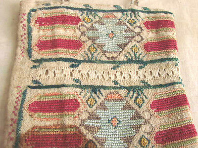 "Vintage Antique Tribal Purse Bag EMBROIDERED Cross Stitch 6"" Ethnic"
