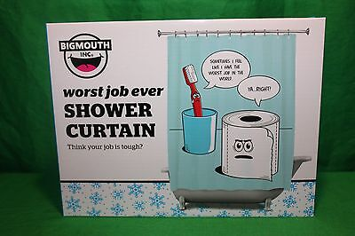 WORST JOB EVER - Funny Shower Curtain Toothbrush & Toilet Paper BigMouth Inc.
