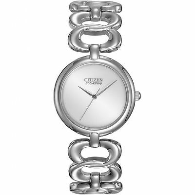 Citizen Eco-Drive EM0220-53A Women's Dress Stainless Steel Silver Dial Watch