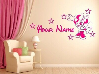 Minnie Mouse Personalized Custom Name Nursery Vinyl Wall Decal Bedroom Sticker B