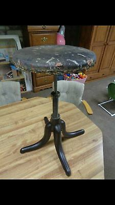 Vintage DECO PORCELAIN ENAMEL CAST IRON PIANO STOOL Rare !