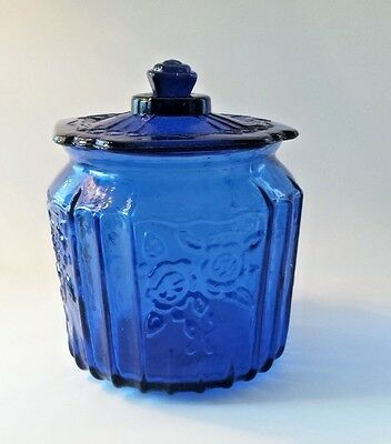 Blue Cobalt Depression Style Glass Mayfair OPEN ROSE Cookie Biscuit Jar LID