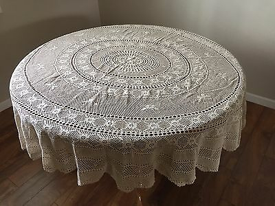 "Vintage Ecru Hand Crochet Oval Floral Tablecloth 76"" X 68"""