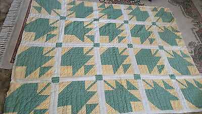 1930's Antique Hand Stitched Quilt ~ Green & Yellow ~ Good Condition