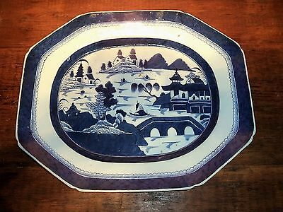 "BIG Antique Chinese Export Porcelain Blue &White Canton LARGE Platter 18"" 19th c"