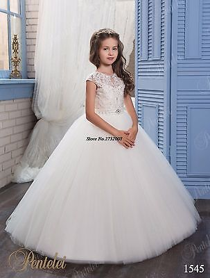 Cute White First Communion Dresses 2019 Kids Flower Girl Dresses Weddings Gown
