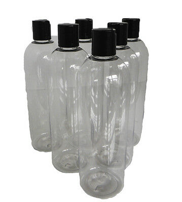 Plastic Bottles 16 oz PET Clear Bullet style Bottle Black Dispensing Disk Cap