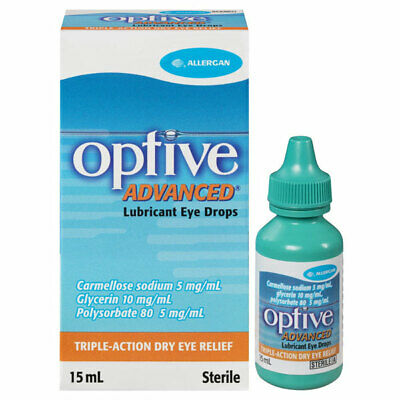* Optive Advanced Eye Drops 15Ml Lubricant Eye Drops Triple Action Relief