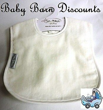 Silly Billyz Organic Plain Bib 3 months to 3 years - Cream
