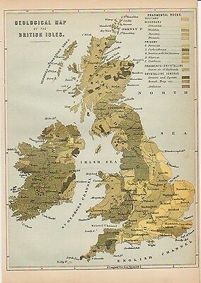 Geological map of the British Isles c1886 by William Mackenzie