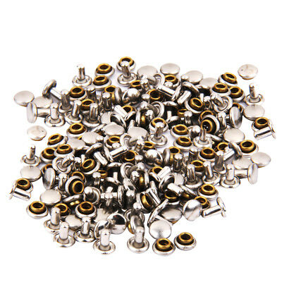 100pcs Double Cap Rivets Stud Fastener Rapid Rivets for Leather Craft Silver