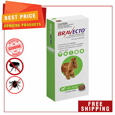 BRAVECTO Green Pack for dogs 10 to 20 Kg Flea and Tick treatment 1 Chew
