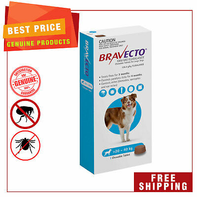 BRAVECTO Blue Pack for dogs 20 to 40 Kg Flea and Tick treatment 1 Chew