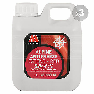 Millers Alpine Antifreeze Extend Longlife Red Antifreeze / Coolant 3 x 1 Litre