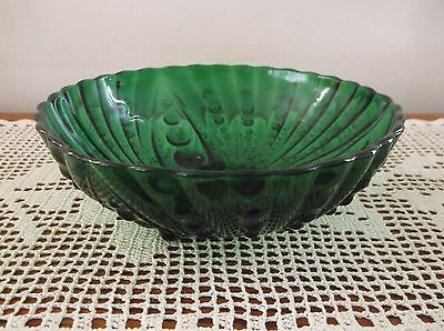 Anchor Hocking Forest Green Burple Large Footed Serving Bowl 8 1/2""