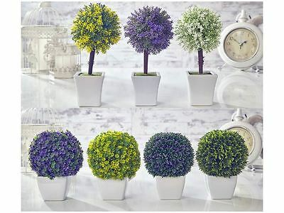 Artificial Topiary Tree & Ball Flowers Buxus Boxwood Plants in Pot Garden Home