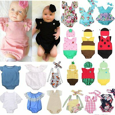 Newborn Infant Baby Kids Girls Bodysuit Tutu Romper Jumpsuit Outfits Clothes Lot