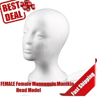 Female Styrofoam Mannequin Manikin Head Model Foam Wig Hair Glasses Display NJ