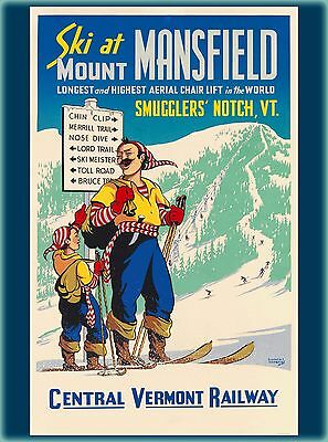 Ski Mount Mansfield Vermont United States Vintage Travel Advertisement Poster