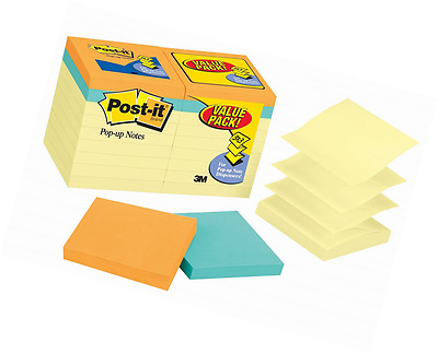 Post-it Pop-up Notes Value Pack, 3 in x 3 in, Canary Yellow and Cape Town Collec