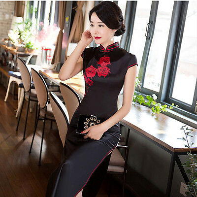 Womens Lady Cheongsam Chinese Qipao Party Casual Cocktail Evening Costume Dress