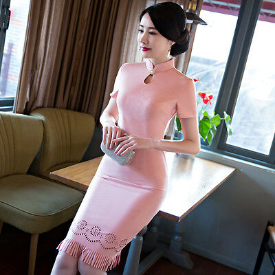 Womens Cheongsam Chinese Long Qipao Party Casual Cocktail Evening Costume Dress