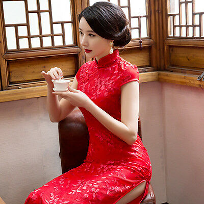 Womens Lady Cheongsam Chinese Qipao Wedding Party Cocktail Evening Costume Dress