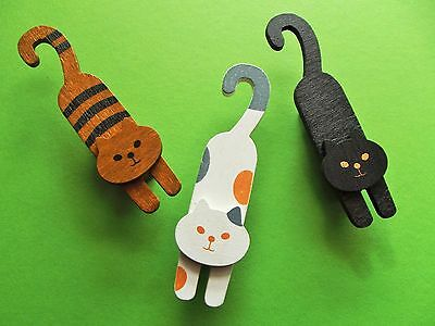 Set of 3 Wooden Cat Pegs with Hook Tail: stationery clip: cat gift!