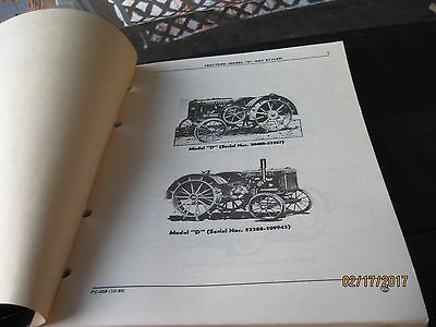 Vintage John Deere Tractor D Not Styled Parts Catalog