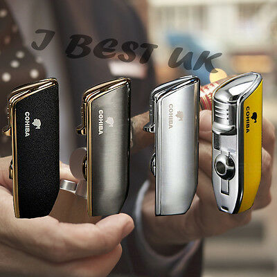 COHIBA Yellow Metal Wind Proof 3 Jet Flame Cigarette Cigar Lighter Punch Gift Bo
