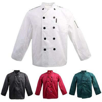 Men Women Double Breasted Long Sleeve Chef Jacket Coat Uniform Cook Clothes
