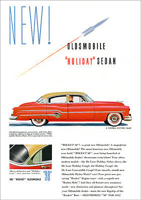 Oldsmobile 98 Holiday Sedan 1951 Retro A3 Poster Print From Advert 1951
