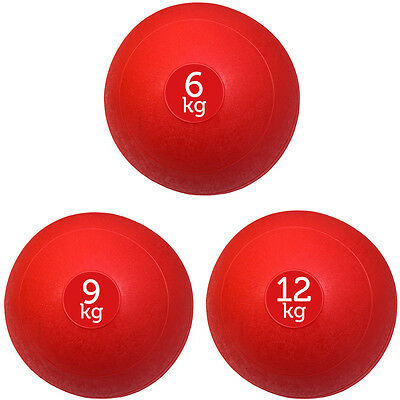 Set Of 3 Red Fxr Sports No Bounce Slam Balls Ball Fitness Gym (6Kg, 9Kg, 12Kg)
