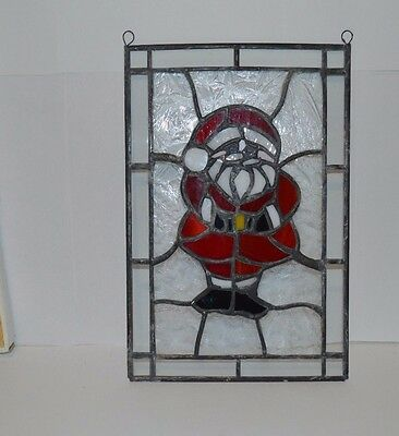 Stained glass window mini panels Santa Claus