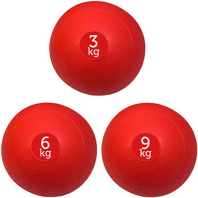 Set Of 3 Red Fxr Sports No Bounce Slam Balls Ball Fitness Gym (3Kg, 6Kg, 9Kg)