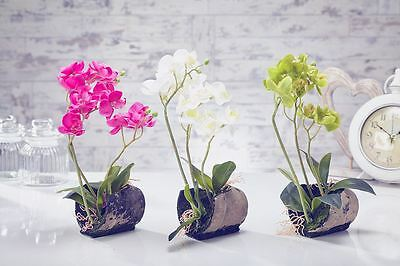 Artificial Flowers Plants Garden Home in Bamboo Pot Orchids